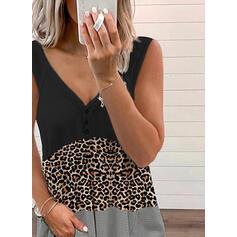Blok Koloru lampart Dekolt w kształcie litery V Bez Rękawów Koszulki bez rękawów