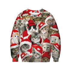 Uniseks Polyester Katoen Print Kerst Sweatshirt