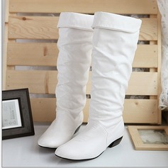 Women's Leatherette Chunky Heel Knee High Boots With Split Joint shoes