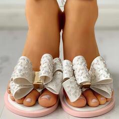 Donna PVC Senza tacco Sandalo Punta aperta Ciabatte con Bowknot scarpe