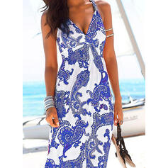 Print Sleeveless Sheath Tank Casual/Boho/Vacation Maxi Dresses