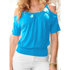 Solid Cold Shoulder 1/2 Sleeves Casual T-shirts