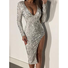 Sequins Long Sleeves Sheath Party/Elegant Midi Dresses