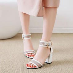 Women's Mesh PU Chunky Heel Sandals Pumps Peep Toe With Buckle shoes