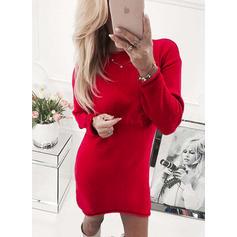 Jednobarevný Kulatý krk Svetrové šaty