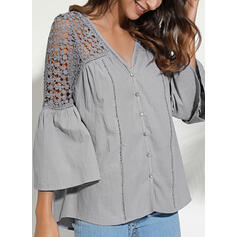 Solid Lace V-Neck Flare Sleeve 3/4 Sleeves Button Up Casual Blouses