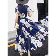 Print Short Sleeves A-line Midi Vintage/Casual/Elegant/Boho Dresses