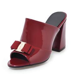 De mujer Piel brillante Tacón ancho Sandalias Salón Encaje Solo correa con Bowknot zapatos