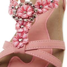 Mulheres Couro Sem salto Sandálias Peep toe Sapatos abertos com Strass Flor Faixa Elástica sapatos