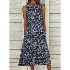 Print Sleeveless Shift Tank Casual Midi Dresses