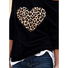 леопард Ένας Ώμος Μακρυμάνικο Καθημερινό Блузи