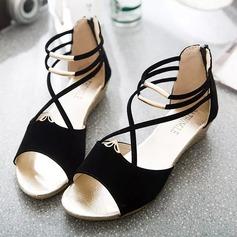 De mujer Ante Tipo de tacón Sandalias Cuñas Encaje con Cremallera zapatos