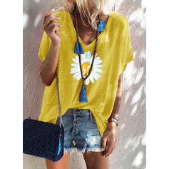 Print Floral V-Neck Short Sleeves Casual T-shirts