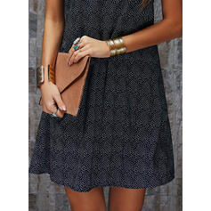 Print Sleeveless Shift Above Knee Casual Dresses