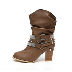 Women's Leatherette Chunky Heel Round Toe With Rivet Buckle Solid Color shoes