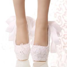 Women's Leatherette Stiletto Heel Closed Toe Platform Pumps With Bowknot Sequin