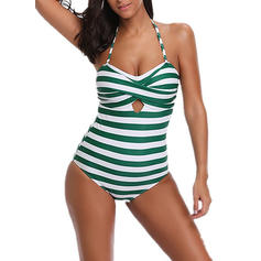Floral Stripe Colorful Halter Beautiful One-piece Swimsuits