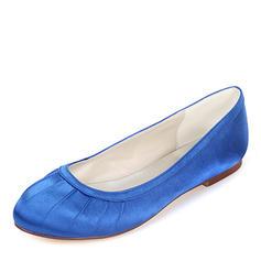 Femmes Soie comme du satin Talon plat Chaussures plates avec Plissé