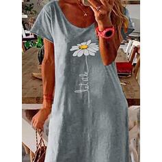 Impresión/Floral Manga Corta Tendencia Camiseta Casual/Vacaciones Midi Vestidos