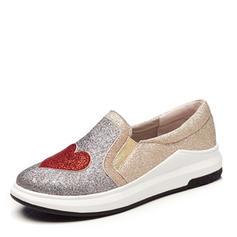 Femmes Similicuir Talon plat Chaussures plates Bout fermé avec Paillette chaussures
