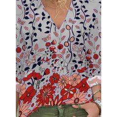 Nadruk Kwiatowy Dekolt w kształcie litery V Długie rękawy Nieformalny Bluzki