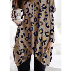 Leopard Pockets Round Neck Long Sleeves Sweatshirt