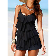 Solid Color Ruffles U-Neck Elegant Attractive Swimdresses Swimsuits