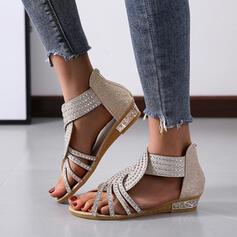 Kvinder PU Flad Hæl Kigge Tå Tøfler med Crystal Solid Color sko