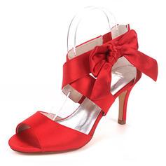 Women's Silk Like Satin Stiletto Heel Pumps Sandals With Bowknot