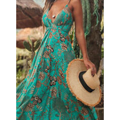 Print Sleeveless A-line Slip/Skater Vacation Maxi Dresses