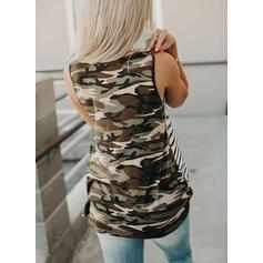 Print Striped Round Neck Sleeveless Casual Tank Tops