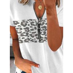 leopardo Scollatura a V Maniche corte Casuale Camicie