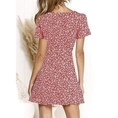 Impresión/Floral Manga Corta Acampanado Sobre la Rodilla Casual/Elegante Vestidos