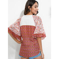 Print Floral V-Neck Batwing Sleeve 3/4 Sleeves Casual Blouses