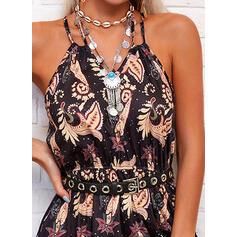 Print Sleeveless A-line Slip/Skater Casual Maxi Dresses