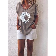 Print Floral V-Neck Short Sleeves Casual T-shirts