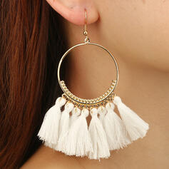 Fashionable Boho Alloy Fabric With Tassels Earrings