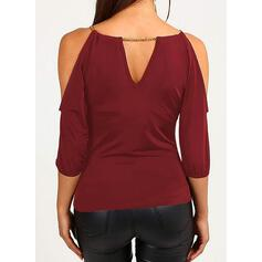 Solide Cold Shoulder 3/4 Mouwen Casual Blouses