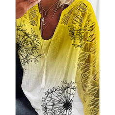 Print Gradient V-Neck 3/4 Sleeves Casual Blouses