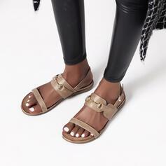 Mulheres PU Sem salto Sandálias Sem salto com Fivela sapatos