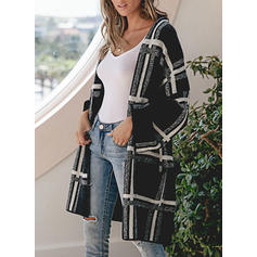 Polyester Long Sleeves Print Pocket Chunky knit Grid