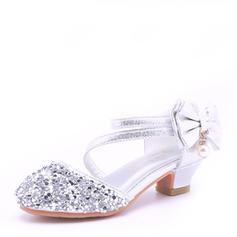 Fille de Cuir en microfibre Low Heel bout rond Bout fermé Sandales Chaussures de fille de fleur avec Bowknot