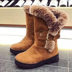 Femmes Suède Talon plat Bottes mi-mollets Bottes neige avec Boucle chaussures