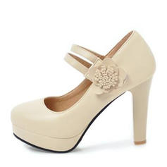 Women's PU Chunky Heel Pumps Platform Closed Toe With Flower shoes