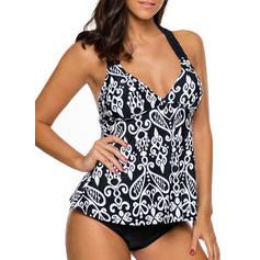Floral Top Halter Elegant Plus Size Tankinis Swimsuits