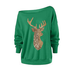 Sequins One Shoulder Long Sleeves Christmas Sweatshirt