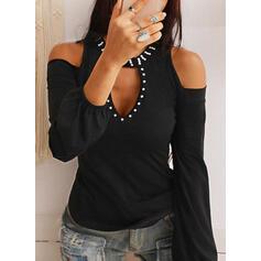 Solido Spalle esposte Maniche lunghe Casuale Elegante Camicie