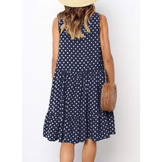 PolkaDot Sleeveless Shift Knee Length Casual Dresses