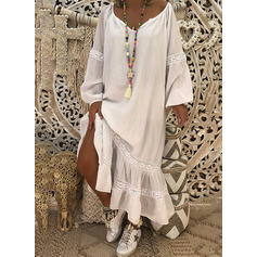 Solid Long Sleeves Shift Maxi Casual/Boho/Vacation Dresses