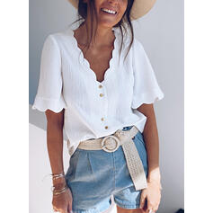 Solid V-Neck Short Sleeves Button Up Casual Shirt Blouses